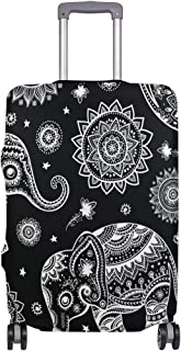 Mydaily African Tribal Ethnic Elephant Luggage Cover Fits 18-32 Inch Suitcase Spandex Travel Protector Cover Only