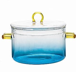 Bol à mélanger en verre avec couvercle - Ustensiles de cuisine pour le rangement et le mélange - Bleu foncé
