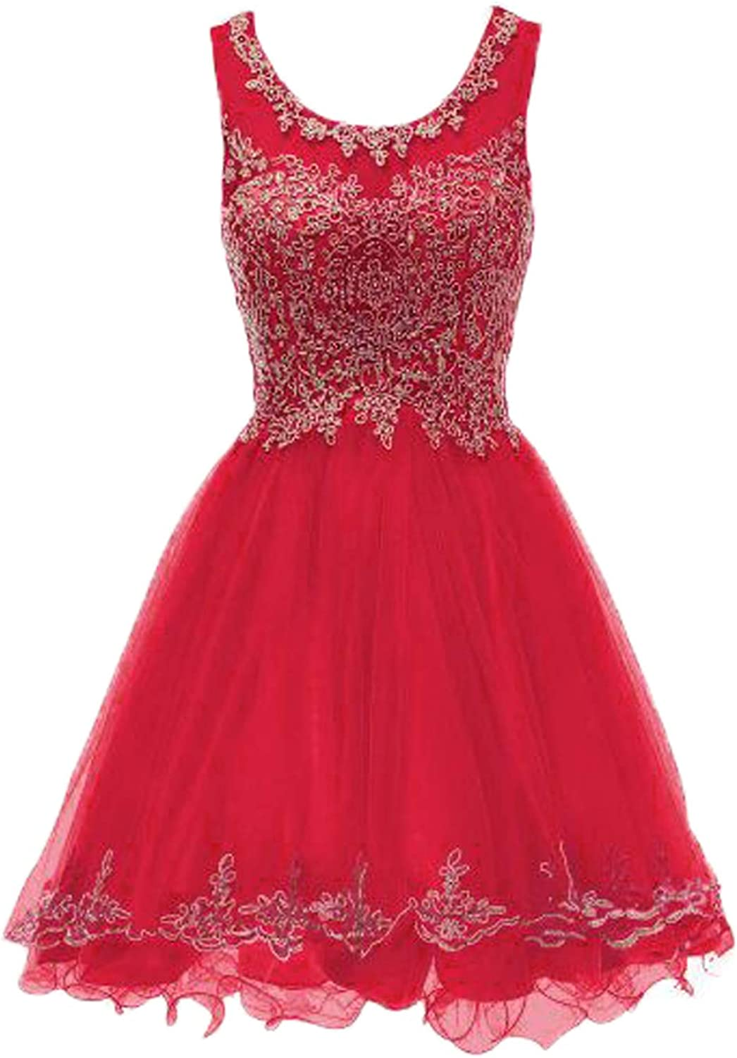 Huifany Short gold Lace Prom Homecoming Dresses Appliques Beads Prom Party Gowns