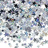 60 g Star Confetti Glitter Star Table Confetti Metallic Foil Stars for Party Wedding Festival Decorations (Silver Set, 10mm and 6mm)