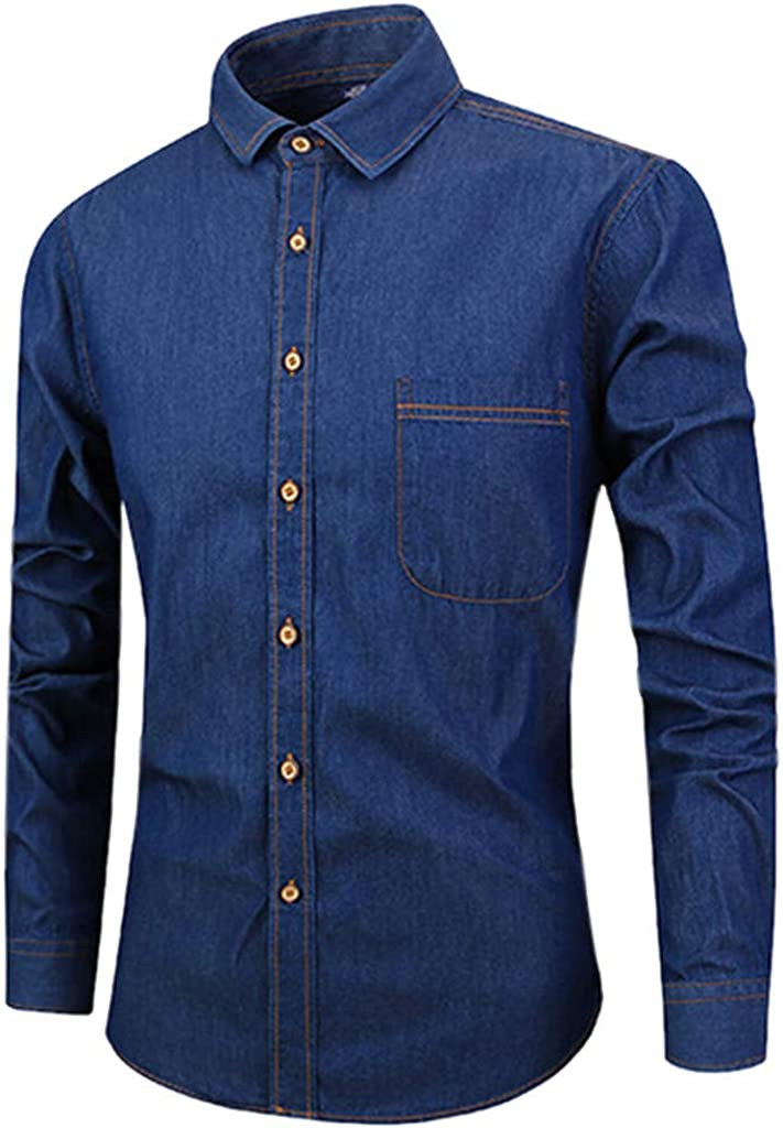 Mens Shirts Long Sleeve Pure Color Blouse Button Painting Large Size Casual Tops