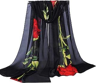 Women Floral Printed Long Soft Wrap Scarf Shawl Chiffon Neck Warmer Silk Scarf