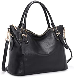 Kattee Women's Genuine Leather Handbags Shoulder Tote Organizer Top Handles Crossbody Bag Satchel Designer Purse Large Capacity (Black)