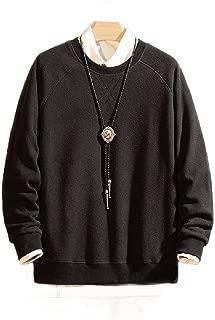 Mogogo Mens Pure Color Thickened Loose Fleece Pullover Big & Tall Tshirt
