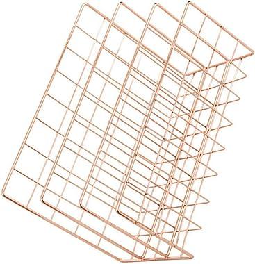 HEITIGN Desktop Organizer, Letter Holder Iron Metal Three Grid Bookcase Holder Multifunctional File Sorter Organizer