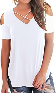 Sunmoot Clearance Sale Cold Shoulder T-Shirt for Womens Summer Casual Short Sleeve Cross Front V-Neck Tops Tunic Blouse