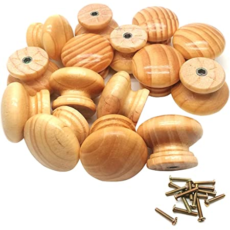 Household Wooden Round Shaped Cabinet Drawer Wardrobe Pull Knob Handle 15 Pcs