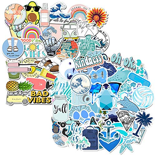 85 PCS Cute azules Vinilo Pegatinas VSCO Girls Water Bottle Stickers para movil Botellas de Agua Coche Moto Pared Bicicleta Ordenador Equipaje No-Duplicate Sticker(Azul)