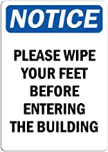 Notice - Please Wipe Your Feet Before Entering The Building Sign   Label Label Decal Sticker Retail Store Sign Sticks to Any Surface 8