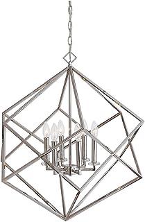 Deco 79 Contemporary Metal Cube-Designed Six-Light Pendant 59 H x 21 L Black Finish