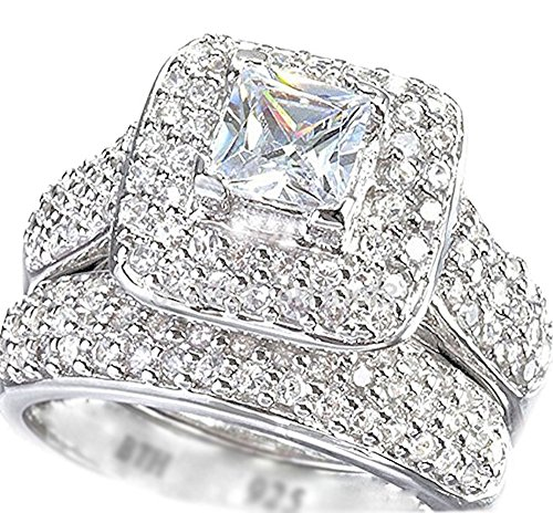 BestToHave Ladies Ring-Halo Design 2 Piece 925 Sterling Silver Luxury Affordable Wedding Engagement Bridal Ring Set (I)