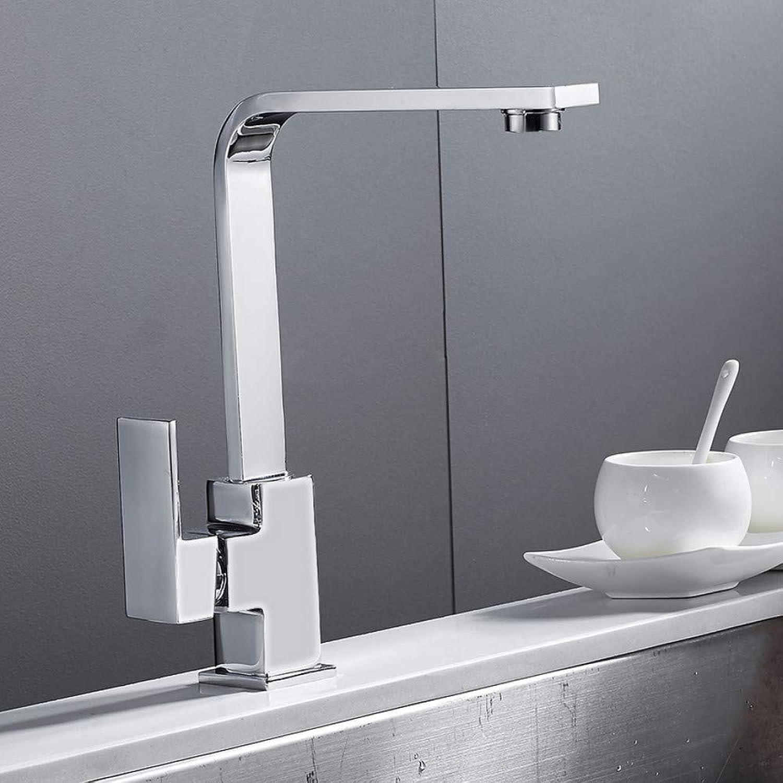 Lddpl Chrome Square Kitchen Faucet Modern Sink Mono Bloc Single Lever Cold and Hot Brass Faucet Swivel Spout Mixer Tap
