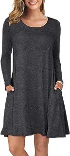 Women's Long Sleeve Tops T-Shirt Dress Round Neck Casual Loose Dress