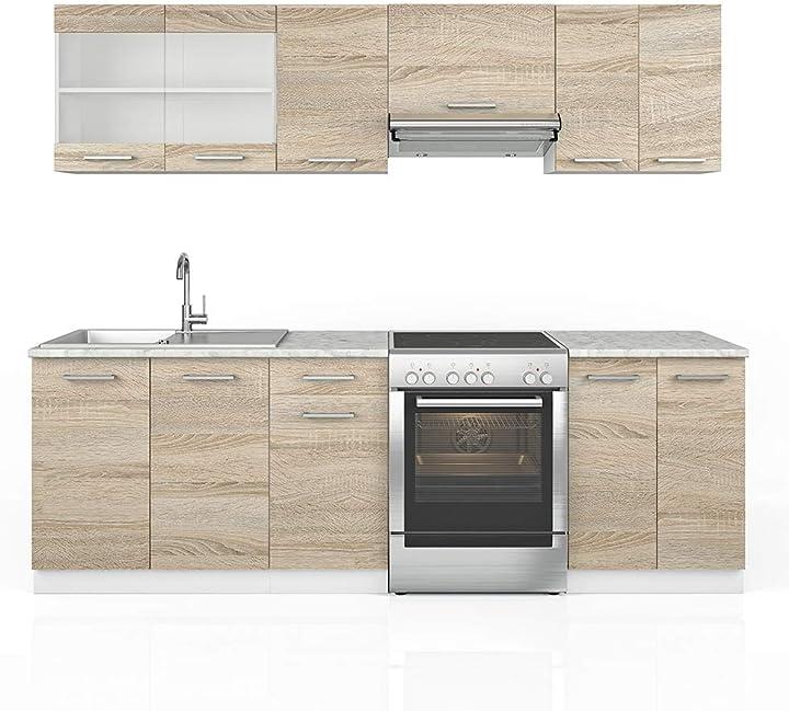 Cucina raul componibile, blocco cucina su misura, 240 cm, colore: bianco - vicco B08TLV8Q8W