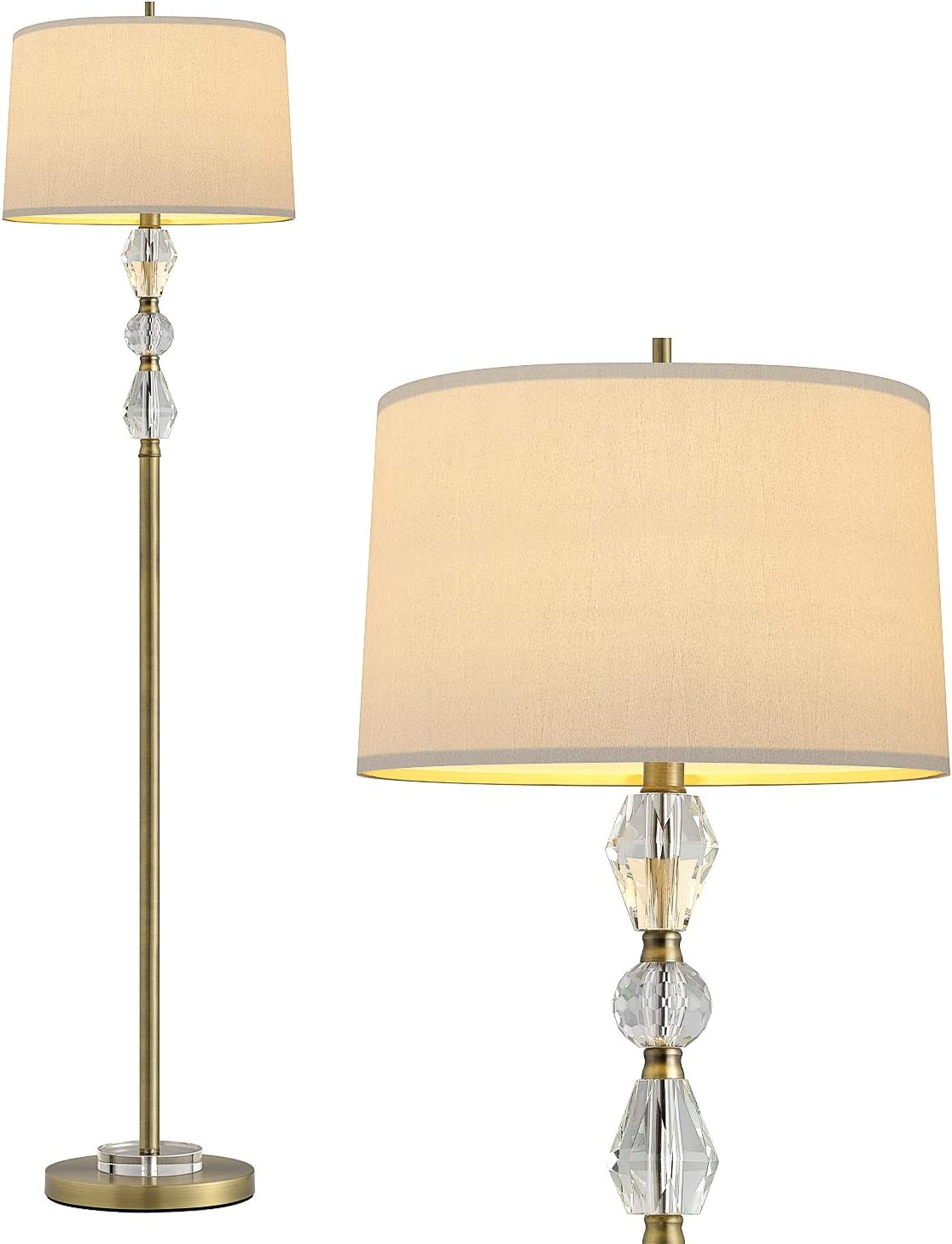 """OYEARS Floor Lamp for Living Room Modern 62"""" Crystal Stacked Ball Floor Lamp Bedroom Reading Antique Copper White Fabric Shade Gold"""