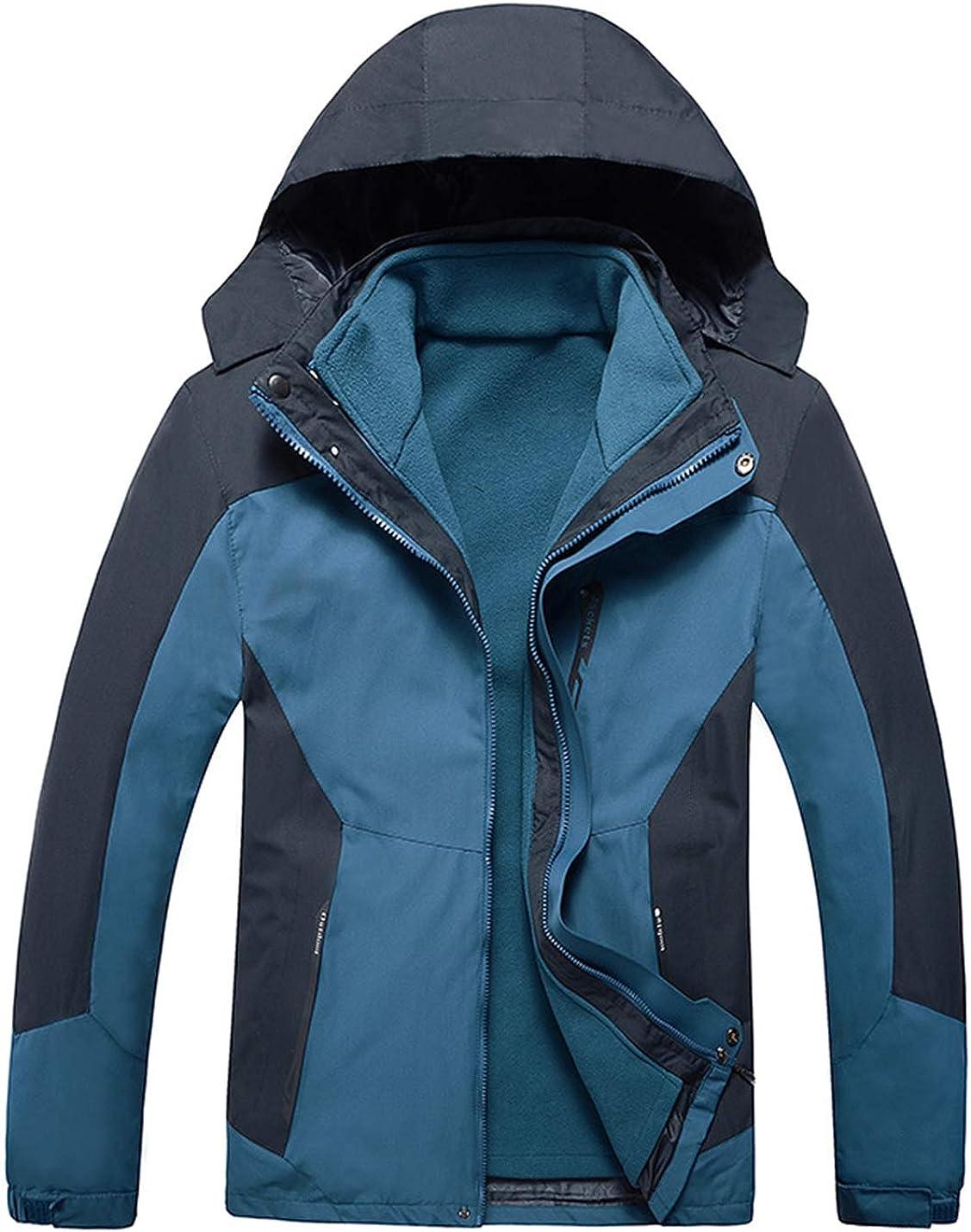 Uaneo Mens Casual Detachable Hood Waterproof Fleece Lined Outdoor Mountain Jackets(DarkBlue-L)