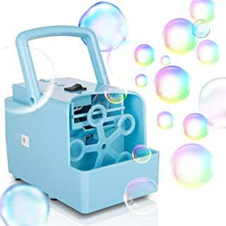 Bubble Machine, Portable Bubble Maker Toy for Kids, Automatic Bubble Blower 2000+ per Min, 2 Speed Levels for Party Wedding Indoor Outdoor Activities, Powered By DC Cable or 4xAA Battery(Not Included)