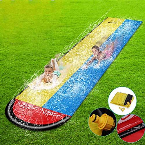 MGCD 6.1M Doble Inflable tobogán de Agua Inflable Summer Waterskiing Splash Play Toys Juegos de Agua de Verano para Exteriores