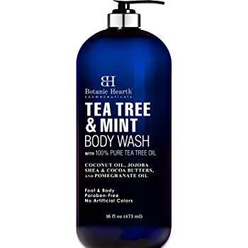 BOTANIC HEARTH Tea Tree Oil Body Wash with Mint - Paraben Free, Helps Fight Body Odor, Athlete's Foot, Jock Itch, Skin Irritations - Shower Gel Soap - Women & Men - (Packaging May Vary) 16 fl oz