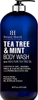 Tea Tree Oil Body Wash with Mint by BOTANIC HEARTH - Paraben Free, Helps Fight Body Odor, Athlete's Foot, Jock Itch, Ringworm, Skin Irritations, Shower Gel Soap - for Women and Men - 16 fl oz