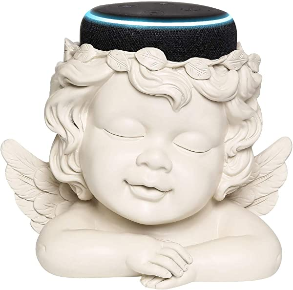Angel Statue Crafted Stand Holder For Echo Dot 3rd Generation Aleax Smart Home Speakers Holder Accessories White