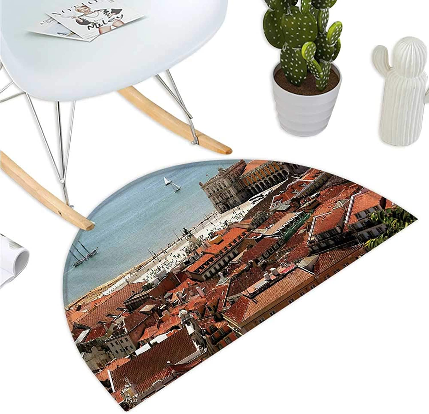 European Half Round Door mats View of Central Lisbon Portugal with Rooftops and Sea Old Town Nostalgic City Bathroom Mat H 39.3  xD 59  Multicolor
