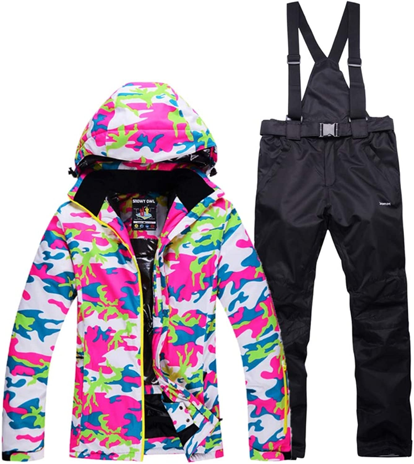 Women's Snow Suit, Double Board Snowboard Suit Windproof Waterproof Warm Breathable + Detachable hat Design + Trousers Strap Detachable, Quality Assurance