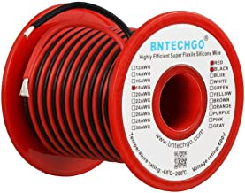 BNTECHGO 18 Gauge Silicone Wire Spool 50 feet Ultra Flexible High Temp 200 deg C 600V 18 AWG Silicone Wire 150 Strands of Tinned Copper Wire 25 ft Black and 25 ft Red Stranded Wire for Model Battery