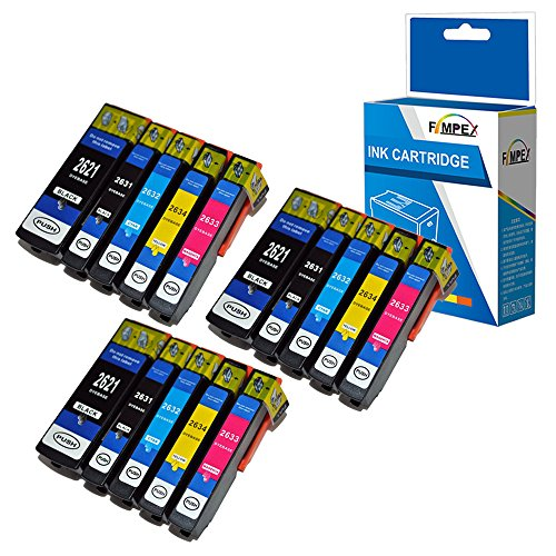 Fimpex Compatible Inchiostro Cartuccia Sostituzione Per Epson XP510 XP520 XP600 XP605 XP610 XP615 XP620 XP625 XP700 XP710 XP720 XP800 XP810 XP820 26XL (Nero/Foto-Nero/Ciano/Magenta/Giallo, 15-Pack)