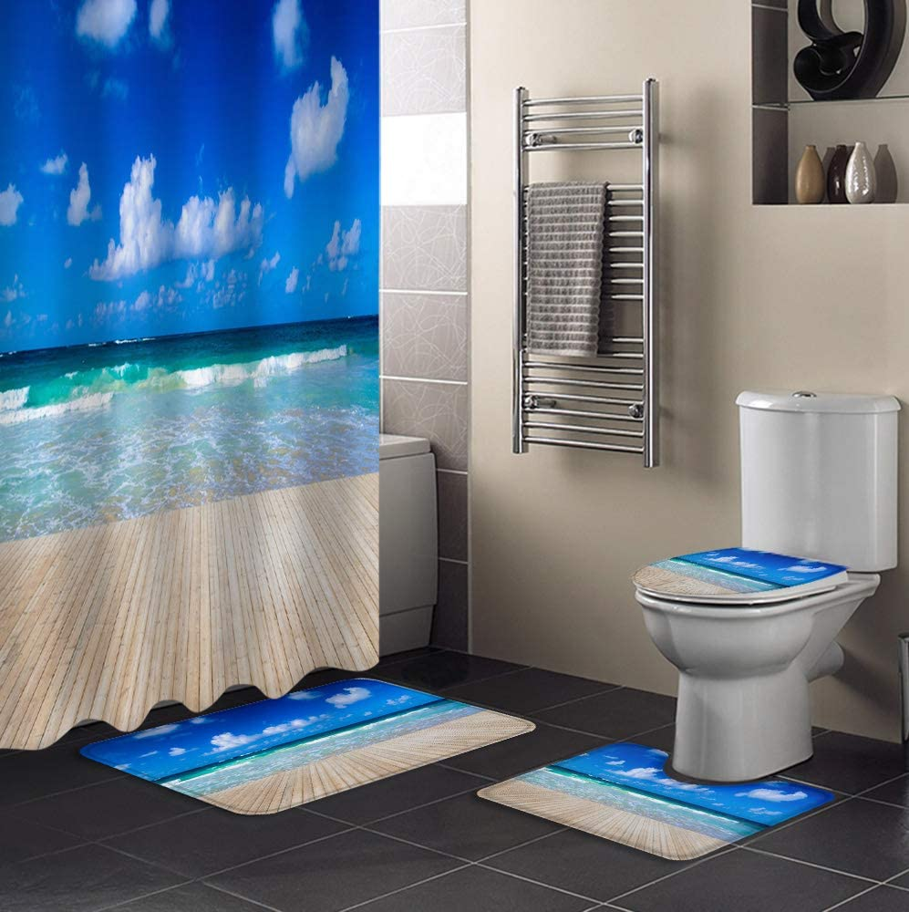 4 PCS Shower Ranking TOP15 Curtain Sales results No. 1 Sets Waterproof with Non-Sli Bathroom