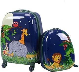 "Custpromo 2 pcs ABS Kids Luggage Set 16"" Carry On Luggage and 12"" Backpacks Set (Elephant)"
