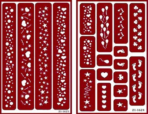 Über 'n' Über wiederverwendbar selbstklebend Ätzen Schablone für Glas (oder Stamping)–Bundle Von Zwei Sets–Grenzen–Luftballons, Herzen, Spuren, Blasen, und Kleeblatt