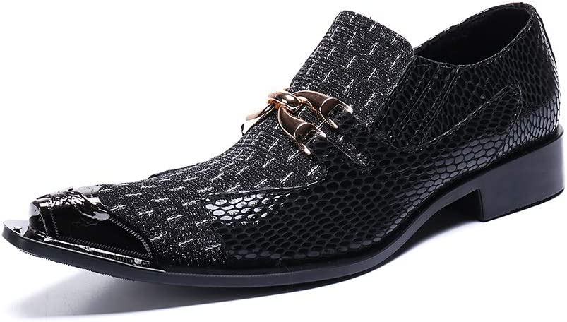 Rui Landed Men's Party Dress Oxfords Casual Genuine Leather Delicate Metal Crocodile Texture Metal Toe Shoes (Color : Black, Size : 12 M US)