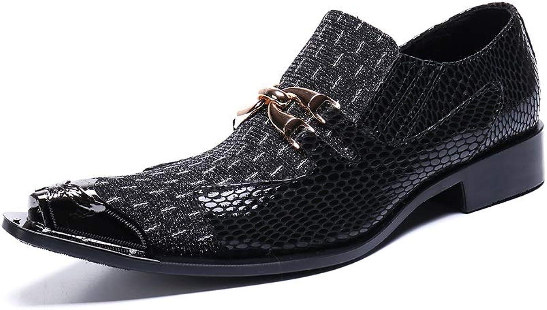 Rui Landed Herrenmode Kleid Oxfords lssig hochwertige Leder zarte Metall krokodil textur metallkappe Schuhe Nachtclub (Farbe   Schwarz, Gre   38 EU)