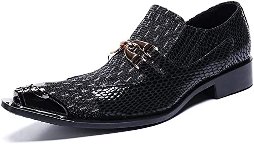 Rui Landed La Mode des Hommes Robe Oxford Décontracté Cuir de Haute qualité délicate en métal Crocodile Texture en métal Toe Chaussures Boîte de Nuit (Couleur   Noir, Taille   45 EU)