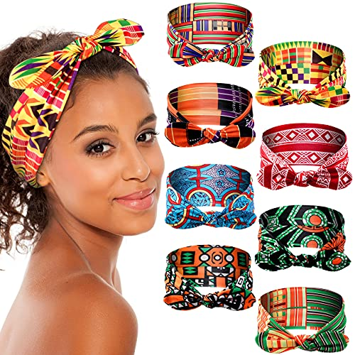 8 Pieces African Headband Boho Bow Headbands Stretchy Rabbit Ear Headwrap Turban Hair Bands Bows Hair Accessories Tie Headband for Women and Girls