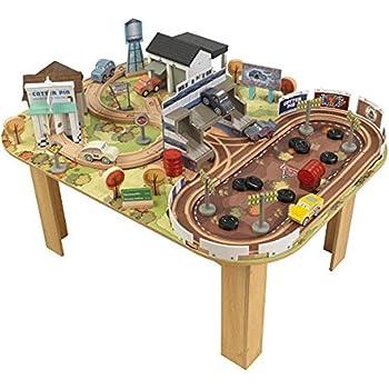 KidKraft 17209 Disney Pixar Cars 3 Autorennbahn & Spieltisch Thomasville aus Holz für Kinder mit 73 Bausteinen, Spielzeugautos und Zubehör