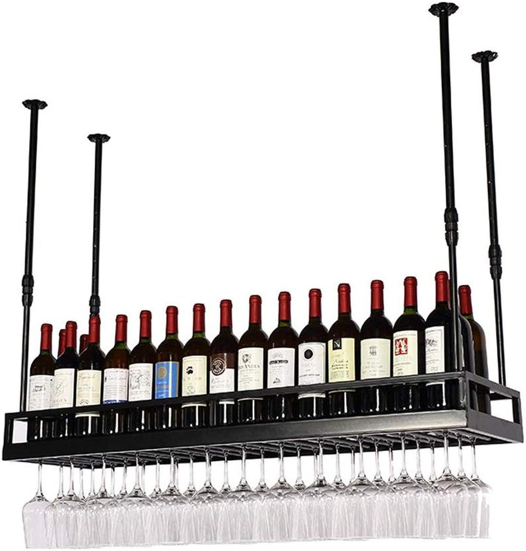 Shelf Hanging Mounted Metal Wine Rack,European Retro Iron Hanging Upside Down Beer & Ingreened Bottle Shelf Goblet Holder for Kitchen Bar Restaurant (color   Black, Size   50  35cm)