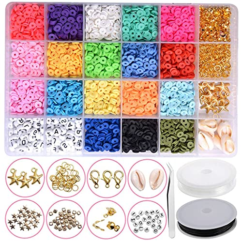 oshhni 1 caja de cuentas de arcilla polimérica redondas y planas, concha espaciadora, encantos de estrellas, anillos abiertos para pulseras de bricolaje,