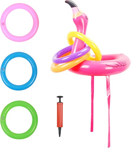 ZERHOK Ring toss Game Jeu de fête Chapeau Gonflable Flamingo Lancer Anneaux Flamant Chapeau Rose Gonflable avec 6 Lan...