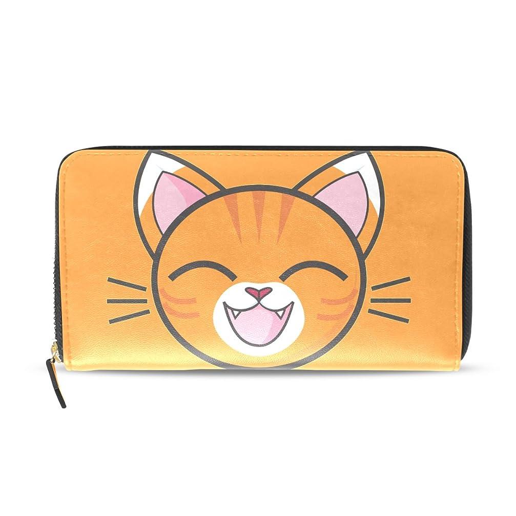 アートシリーズ冷蔵するAOMOKI 財布 レディース 長財布 猫 オレンジ ピンク かわいい ねこ ラウンドファスナー PUレザー 大容量 二つ折り 幅20*丈11cm