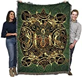 Wolf Moon - Celtic - Jen Delyth - Cotton Woven Blanket Throw - Made in The USA (72x54)