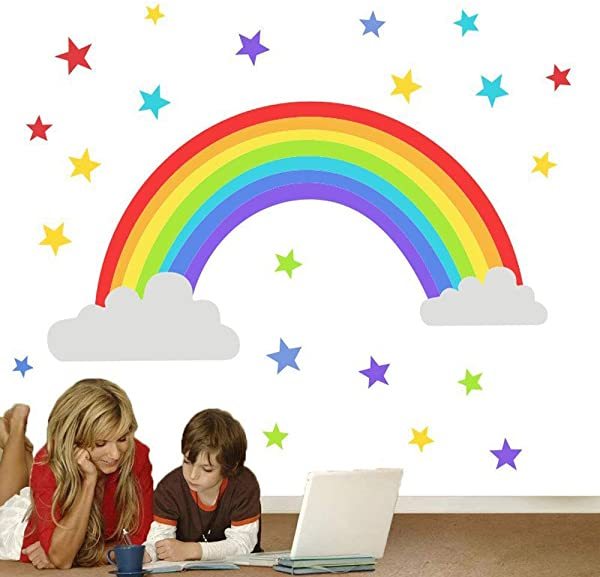 BUCKOO Colorful Rainbow Wall Decal Cloud Wall Sticker Colored Stars Wall Sticker For Kids Room Decor Gift DIY Mural Art Home Decoration