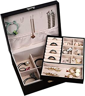 YOUBAMI Jewelry Box for Women, 2 Layer 16 Compartments Necklace Jewelry Organizer Box Case Storage Organizer with Lock for...
