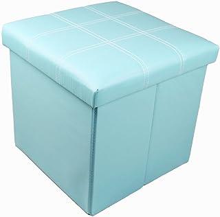 GMMH Tabouret original - 38 x 38 x 38 cm - Boîte de rangement cube - Banc pliable - Bleu