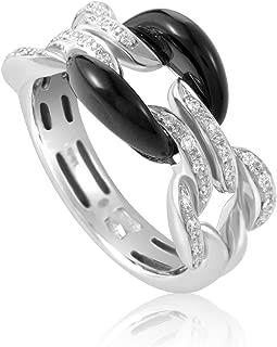 Damiani D.Lace 18K White Gold Diamond and Onyx Cushion Ring