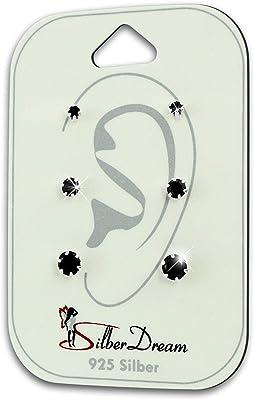 SilberDream SDS810S - Orecchini da donna in argento 925, con zirconi, colore: nero