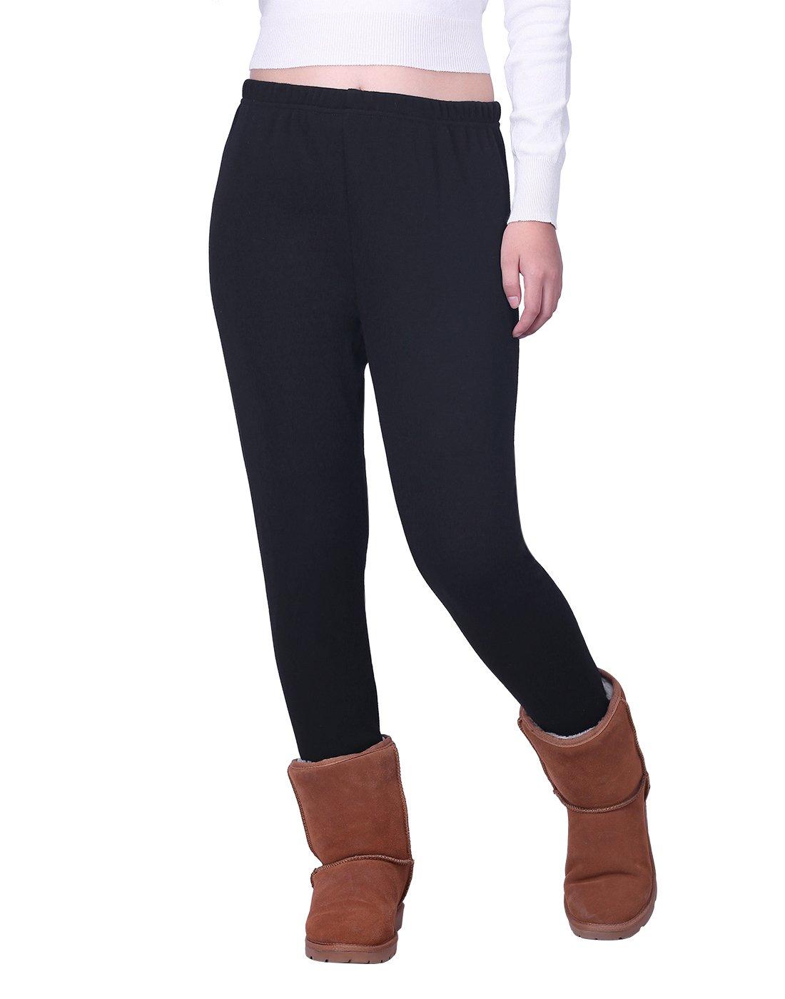 HDE 女式冬季打底裤保暖羊毛内衬保暖高腰图案裤子
