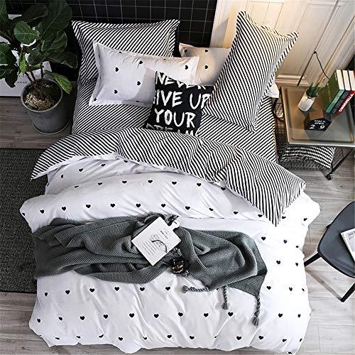 Odot Liebe Bettbezug Bettwäsche-Set 3 TLG, Nordischer Stil Mikrofaser Atmungsaktive Erwachsener Bettbezug mit Verdeckter Reißverschluss und 2 Kissenbezuge (135x200cm + 80x80cm,Weiße Streifen)