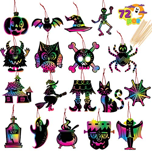 JOYIN 72 Pcs Halloween Scratch Cards Set with 18 Designs for Arts and Crafts, Activity Book, Trick-or-Treating, Halloween Party Favors, Halloween Event Party Supplies, Classroom Activities